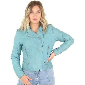 Vêtements Femme Blousons Daytona Blouson Rose Garden style perfecto en cuir ref_48603 Bleu bleu
