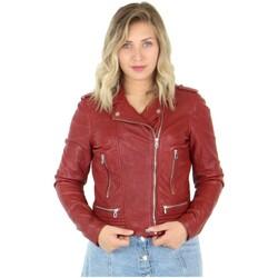 Vêtements Femme Blousons Daytona Blouson Rose Garden style perfecto en cuir ref_48603 Rouge rouge