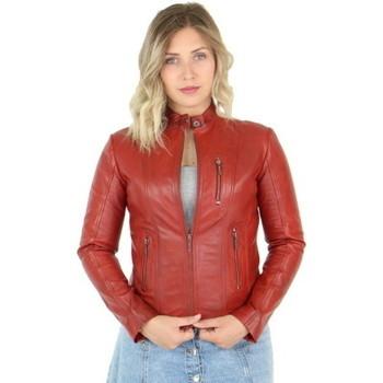 Vêtements Femme Blousons Pallas Cuir Blouson en cuir agneau ref_46811 Rouge rouge