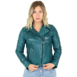 Vêtements Femme Blousons Giorgio Cuirs Blouson style perfecto Giorgio Lovely Washed en cu vert