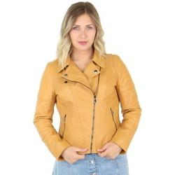 Vêtements Femme Blousons Giorgio Cuirs Blouson style perfecto Giorgio en cuir ref_40744 Miel Jaune