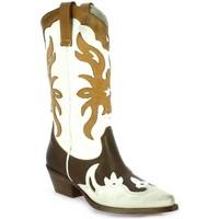 Chaussures Femme Bottes ville Metisse Bottes cuir  / Blanc/cognac