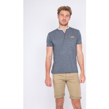 Vêtements Homme T-shirts manches courtes Ritchie T-shirt col tunisien NUTTY Bleu marine