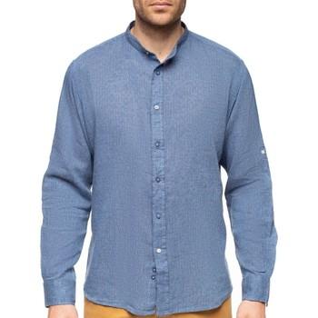 Vêtements Homme Chemises manches longues Shilton Chemise mélange coton lin col mao Bleu marine