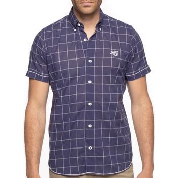 Vêtements Homme Chemises manches courtes Shilton Chemise carreaux flag Bleu marine