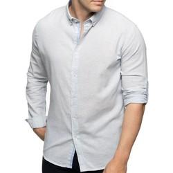 Vêtements Homme Chemises manches longues Shilton Chemise manches longues rayée en lin Bleu ciel