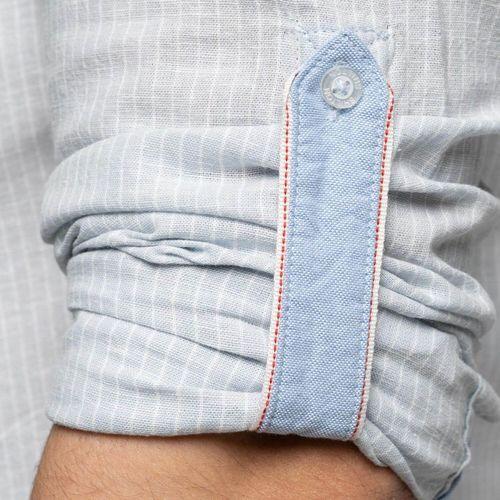 Shilton Chemise manches longues rayée en lin Bleu ciel 18052315 Chemises Homme