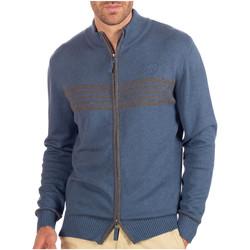 Vêtements Homme Gilets / Cardigans Shilton Gilet Zippé Rayé Bleu indigo