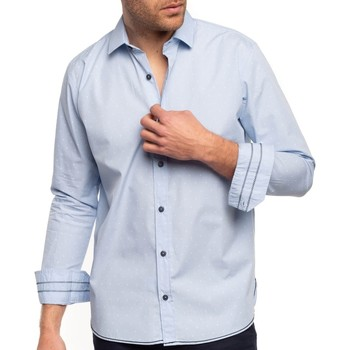 Vêtements Homme Chemises manches longues Shilton Chemise fleur de lys Bleu ciel