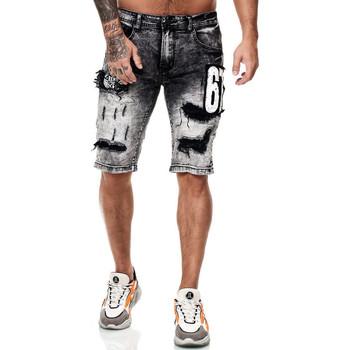 Vêtements Homme Shorts / Bermudas Monsieurmode Bermuda homme en jeans Bermuda 7515 gris Gris