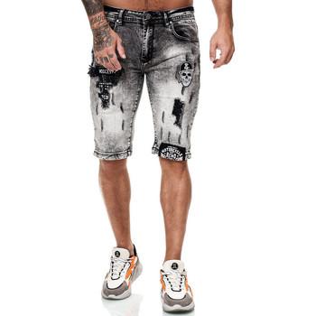 Vêtements Homme Shorts / Bermudas Monsieurmode Bermuda jeans déchiré Bermuda 7527gris Gris