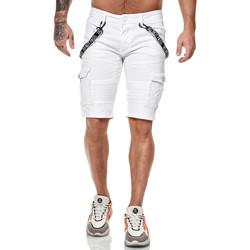 Vêtements Homme Shorts / Bermudas Monsieurmode Bermuda fashion en jeans Bermuda 7558 blanc Blanc