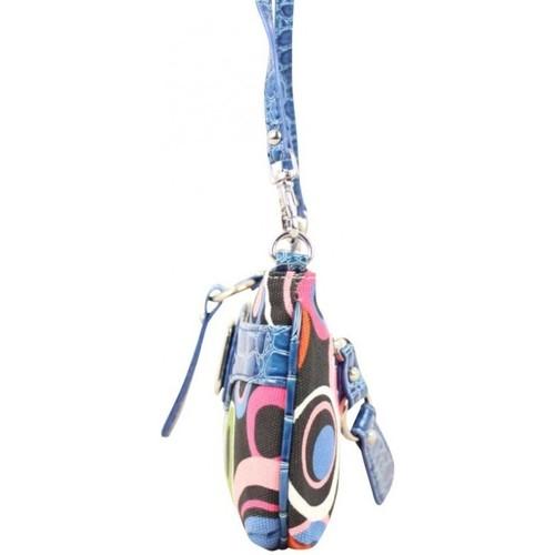 Fuchsia Mini sac pochette  toile motif rond multicolore Bleu Multicolor 18071885