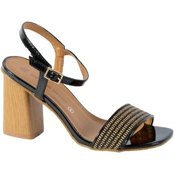 Chaussures Femme Sandales et Nu-pieds The Divine Factory Sandales Talon Noir Vernis