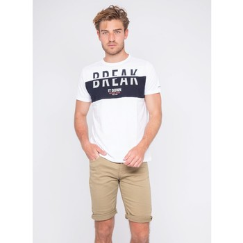 Vêtements Homme T-shirts manches courtes Ritchie T-shirt col rond pur coton motis relief NOLIBERT Blanc