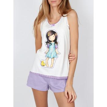 Vêtements Femme Pyjamas / Chemises de nuit Admas Pyjama short débardeur Little Duck Santoro ivoire Ivoire
