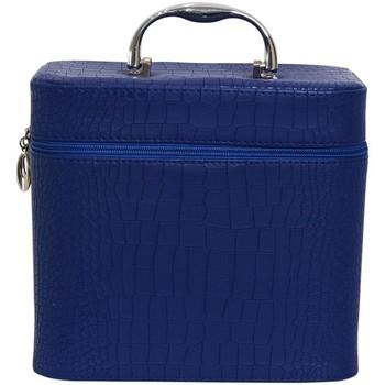 Sacs Femme Vanity Chapeau-Tendance Grand vanity case aspect croco Bleu