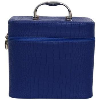 Sacs Femme Vanity Chapeau-Tendance Petit vanity case aspect croco Bleu