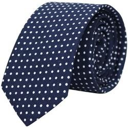 Vêtements Homme Cravates et accessoires Chapeau-Tendance Cravate soie pois blancs Bleu