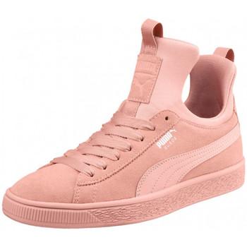 Chaussures Femme Baskets montantes Puma Basket  Suede Rose