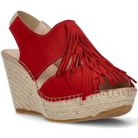 Chaussures Femme Sandales et Nu-pieds Ramoncinas FRANGES D'APHRODITE BRUNES ESPADRILLES ROUGE