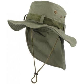 Accessoires textile Homme Chapeaux Nyls Création Chapeau Bob Safari Vert Kaki Lien Serrage et Protege Nuque Vert