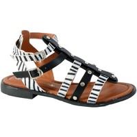 Chaussures Femme Sandales et Nu-pieds The Divine Factory Sandale CM3965 Noir/Zebre
