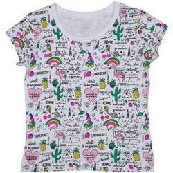 Vêtements Fille T-shirts & Polos Interdit De Me Gronder LICORNE Blanc