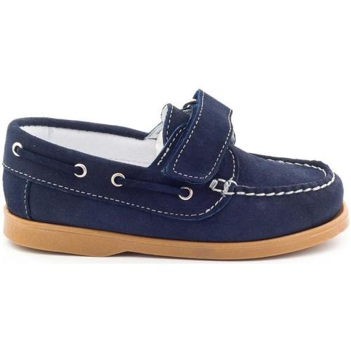 Chaussures Garçon Chaussures bateau Boni Classic Shoes Boni Boat, mocassins en cuir à scratch Daim Bleu Marine