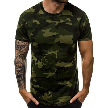 Vêtements Homme T-shirts manches courtes Monsieurmode T-shirt camouflage homme T-shirt M807 vert Vert