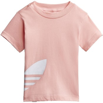 Vêtements Fille T-shirts manches courtes adidas Originals BIG TREFOIL TEE ROSA Rose