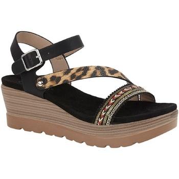 Chaussures Femme Sandales et Nu-pieds Cipriata  Noir/ Imprimé leopard