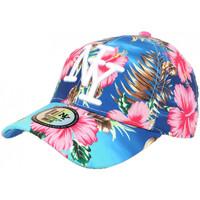 Accessoires textile Casquettes Hip Hop Honour Casquette NY Bleue et Rose a Fleurs Tendance Baseball Hawai Bleu