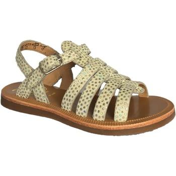Chaussures Fille Sandales et Nu-pieds Pom d'Api plagette strap norman vert d'eau