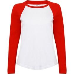 Vêtements Femme T-shirts manches longues Skinni Fit Baseball Blanc/Rouge