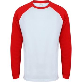 Vêtements Homme T-shirts manches longues Skinni Fit Baseball Blanc/rouge