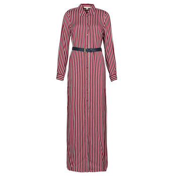 Vêtements Femme Robes longues MICHAEL Michael Kors WARM PLAYFL SHIRT DR Bordeaux / Blanc / Marine