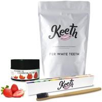 Beauté Soins visage Keeth Pack brosse à dents & poudre de charbon saveur fraise Gris