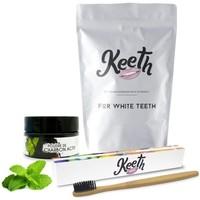 Beauté Soins visage Keeth Pack brosse à dents & poudre de charbon saveur menthe Gris