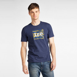 Vêtements Homme T-shirts manches courtes Lee T-shirt  Camo Package Dark Navy bleu marine/jaune/blanc