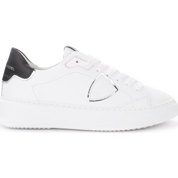 Chaussures Femme Baskets basses Philippe Model Sneaker Temple in pelle bianca con spoiler nero e argento Blanc