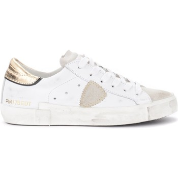 Chaussures Femme Baskets basses Philippe Model Sneaker Paris X in pelle bianca con spoiler dorato Blanc