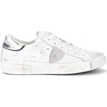 Chaussures Femme Baskets basses Philippe Model Sneaker Paris X in pelle bianca con spoiler argento Blanc