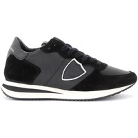 Chaussures Femme Baskets basses Philippe Model Baskets Tropez X en cuir et en daim noir Noir
