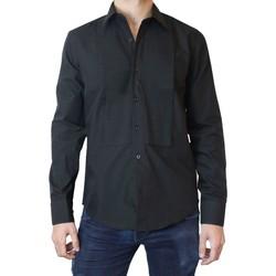 Vêtements Homme Chemises manches longues Kebello Chemise plastron Taille : H Noir S Noir