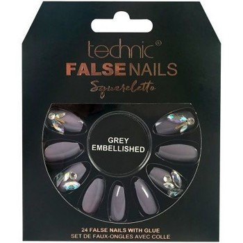 Beauté Femme Accessoires ongles Technic Faux ongles Squareletto   Grey Embellished Violet