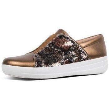 Chaussures Femme Derbies FitFlop NEW ZIP SNEAKER SNAKE PRINT SEQUINS - BRONZe BRONZe