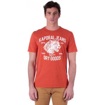 Vêtements Homme T-shirts manches courtes Kaporal T-shirt Homme PINTO Rouge Motifs Tigre Blanc Rouge