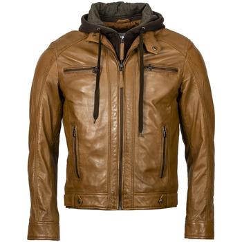 Vêtements Homme Blousons Serge Pariente Blouson cuir à capuche MARRON