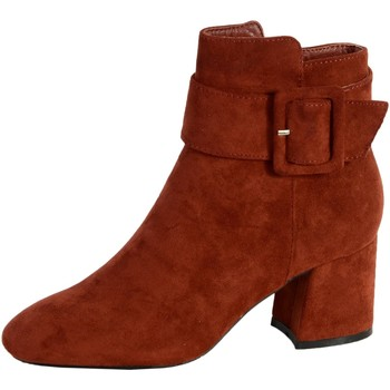 Chaussures Femme Bottines The Divine Factory Bottine Talon HK3843 Terra Cotta